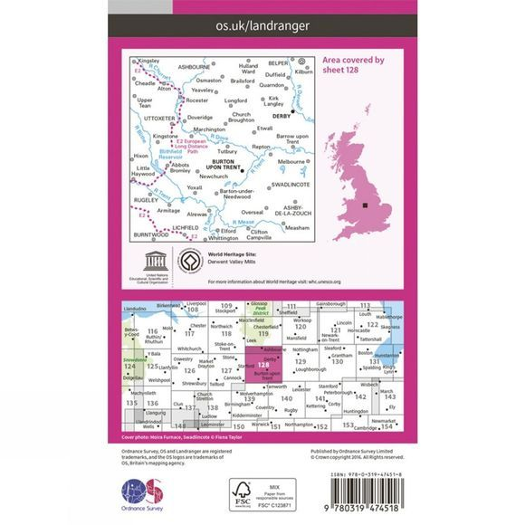 Ordnance Survey Active Landranger Map 128 Derby and Burton upon Trent V16