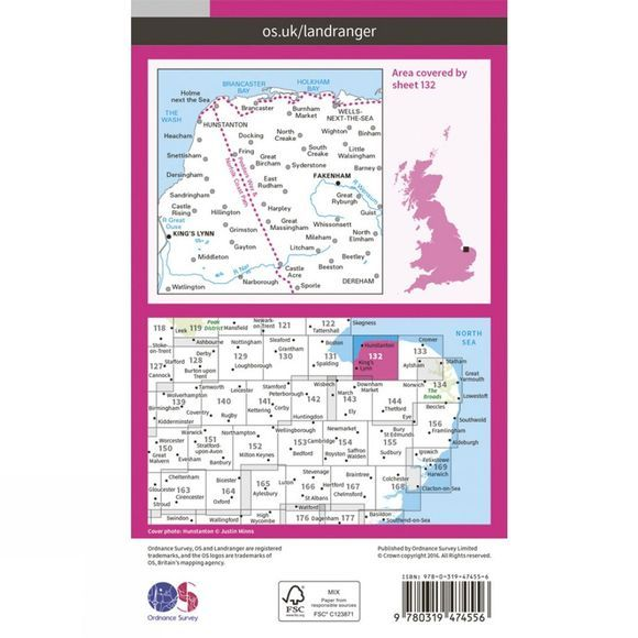 Ordnance Survey Active Landranger Map 132 North West Norfolk V16