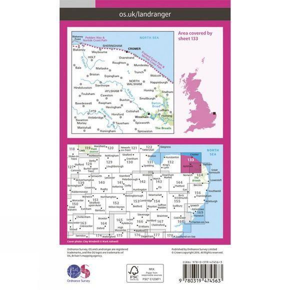 Active Landranger Map 133 North East Norfolk