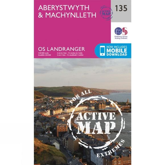 Active Landranger Map 135 Aberystwyth and Machynlleth