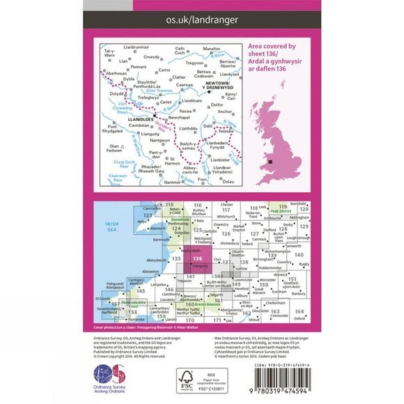 Ordnance Survey Active Landranger Map 136 Newtown and Llanidloes V16