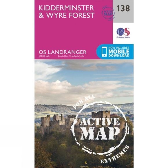 Ordnance Survey Active Landranger Map 138 Kidderminster and Wyre Forest V16