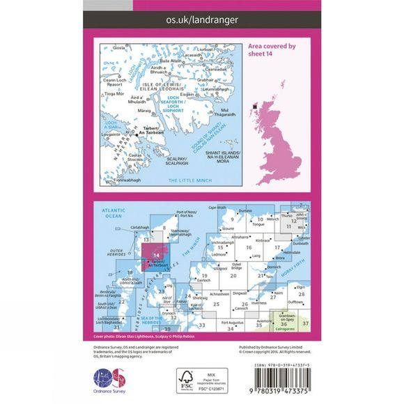 Ordnance Survey Active Landranger Map 14 Tarbert and Loch Seaforth V16
