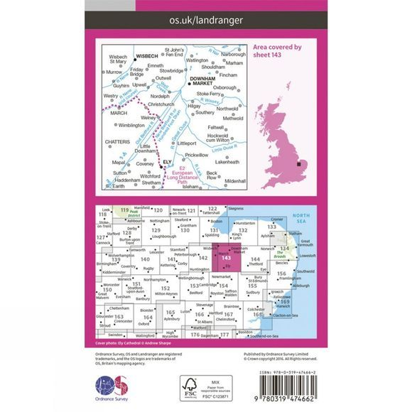 Ordnance Survey Active Landranger Map 143 Ely and Wisbech V16
