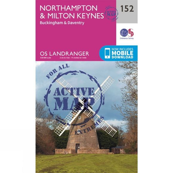 Ordnance Survey Active Landranger Map 152 Northampton and Milton Keynes V16