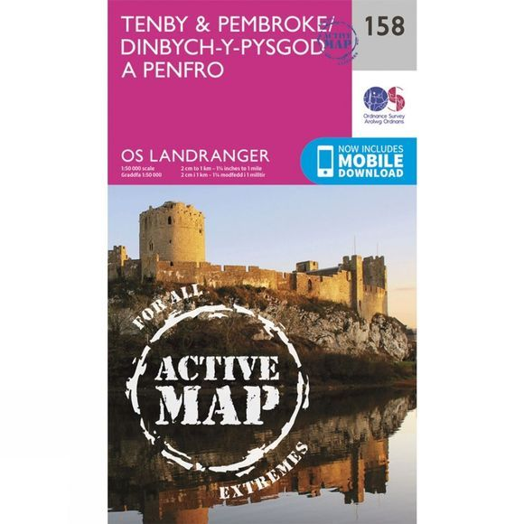 Ordnance Survey Active Landranger Map 158 Tenby and Pembroke V16