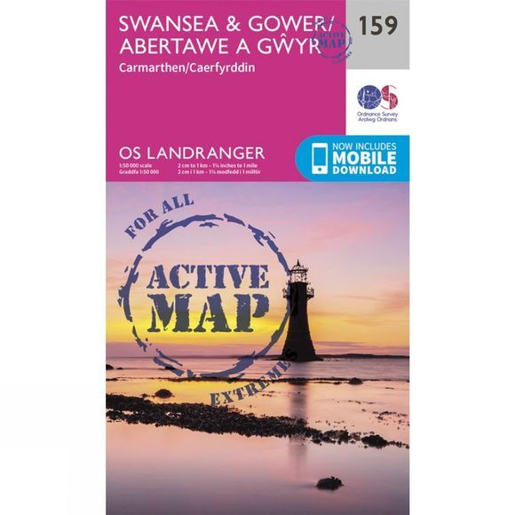 Ordnance Survey Active Landranger Map 159 Swansea and Gower V16