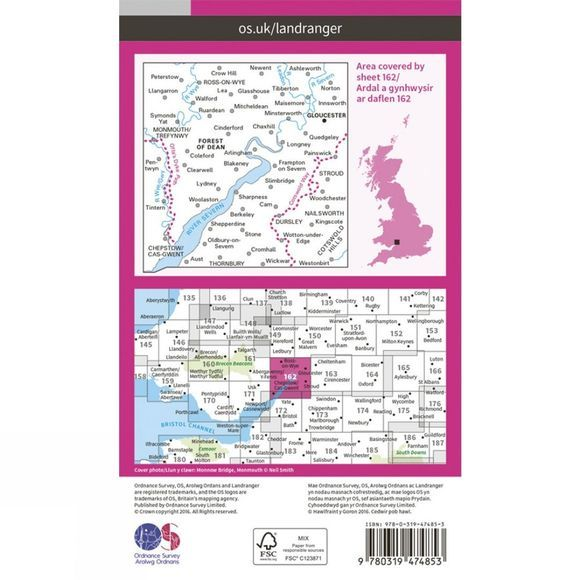 Ordnance Survey Active Landranger Map 162 Gloucester and Forest of Dean V16