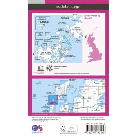 Ordnance Survey Active Landranger Map 18 Sound of Harris V16