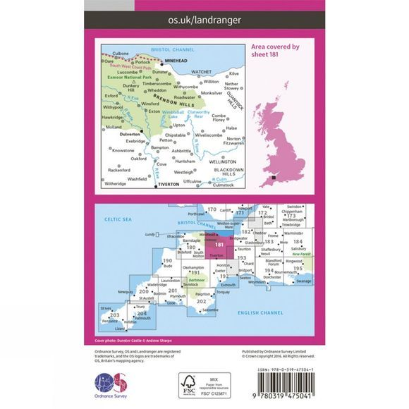 Ordnance Survey Active Landranger Map 181 Minehead and Brendon Hills V16