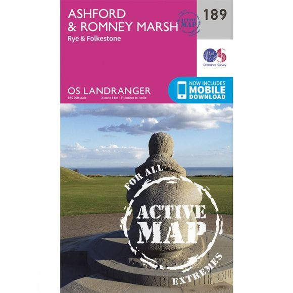 Ordnance Survey Active Landranger Map 189 Ashford and Romney Marsh V16