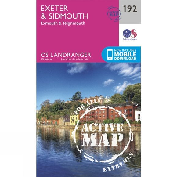 Active Landranger Map 192 Exeter and Sidmouth