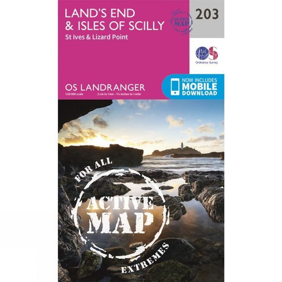 Ordnance Survey Active Landranger Map 203 Land's End and Isles of Scilly V16