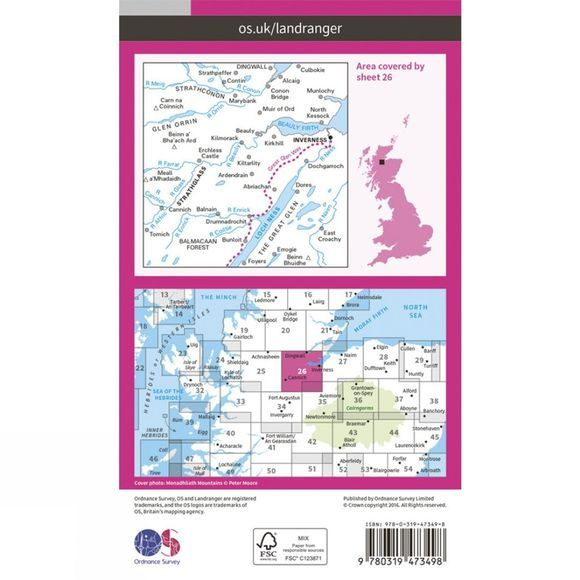 Ordnance Survey Active Landranger Map 26 Inverness and Loch Ness V16
