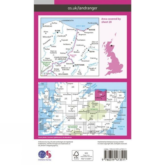 Active Landranger Map 28 Elgin and Dufftown