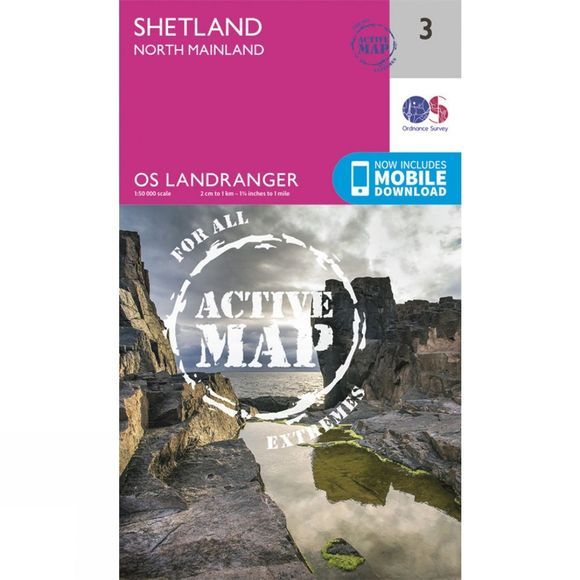 Ordnance Survey Active Landranger Map 03 Shetland - North Mainland V16