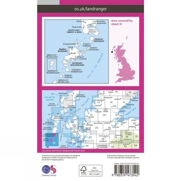 Ordnance Survey Active Landranger Map 31 Barra and South Uist V16