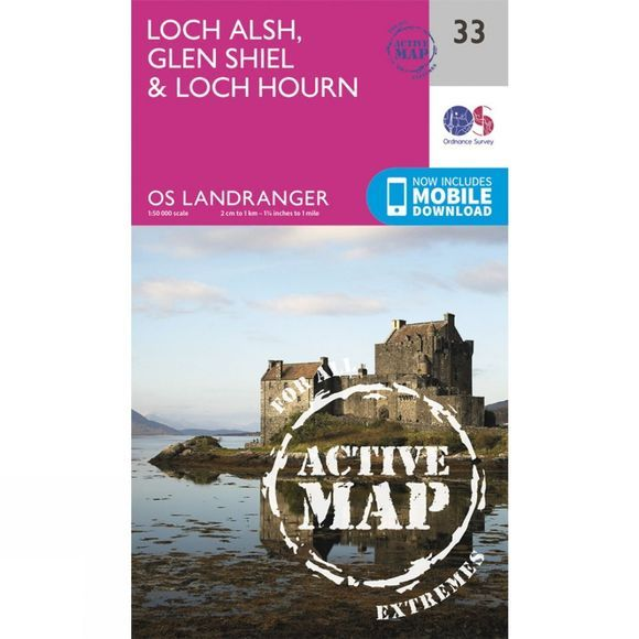 Active Landranger Map 33 Loch Alsh, Glen Shiel and Loch Hourn