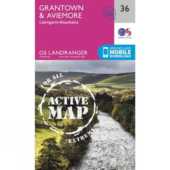 Ordnance Survey Active Landranger Map 36 Grantown and Aviemore V16