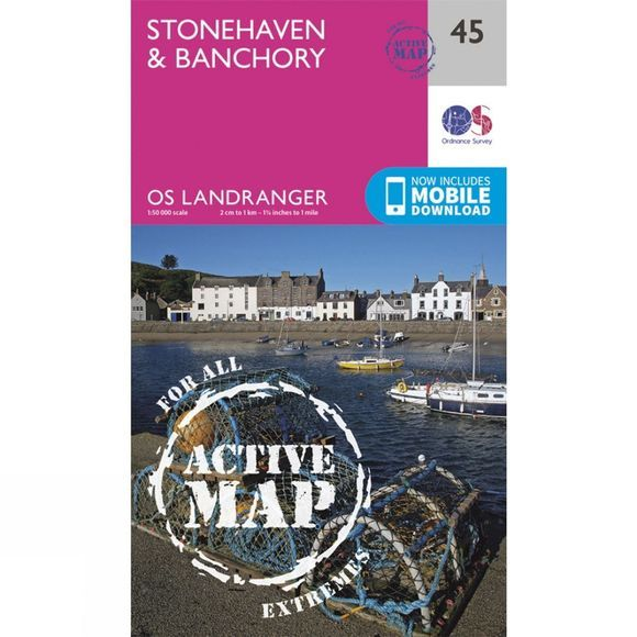 Ordnance Survey Active Landranger Map 45 Stonehaven and Banchory V16