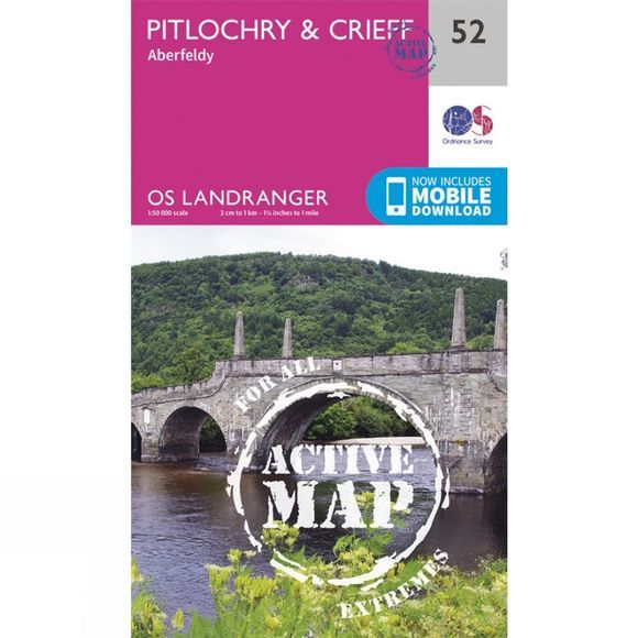 Ordnance Survey Active Landranger Map 52 Pitlochry and Crieff V16