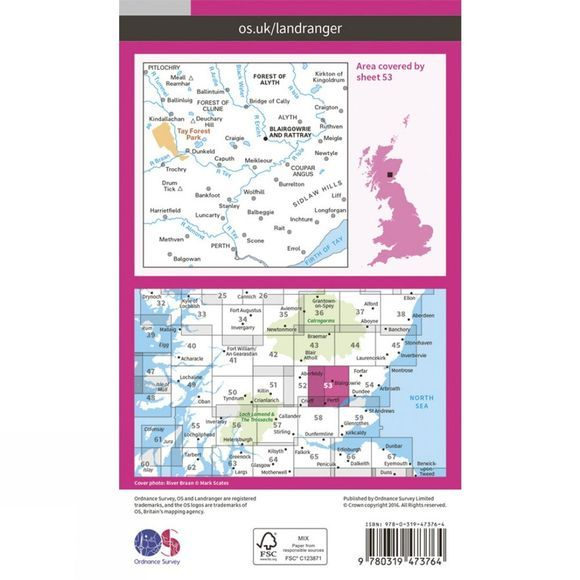 Ordnance Survey Active Landranger Map 53 Blairgowrie and Rattray V16