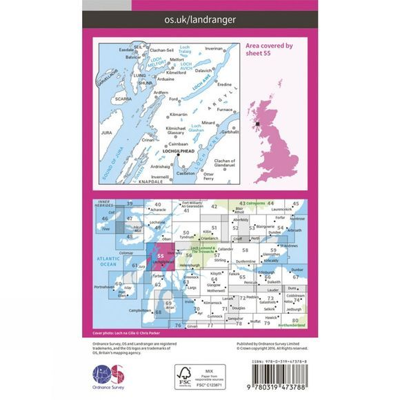 Ordnance Survey Active Landranger Map 55 Lochgilphead and Loch Awe V16