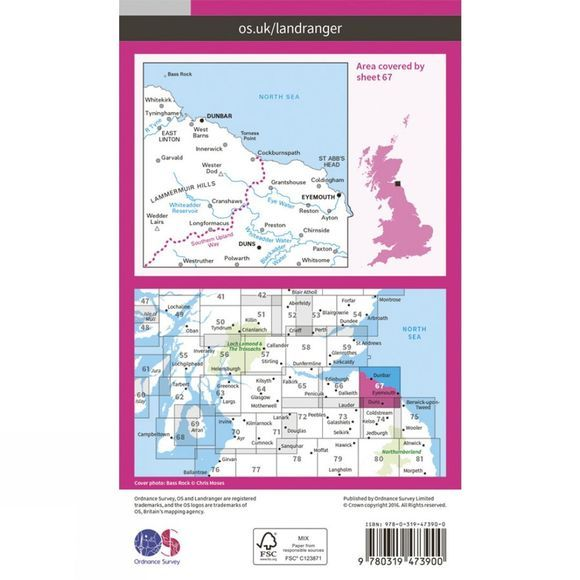 Ordnance Survey Active Landranger Map 67 Duns, Dunbar and Eyemouth V16