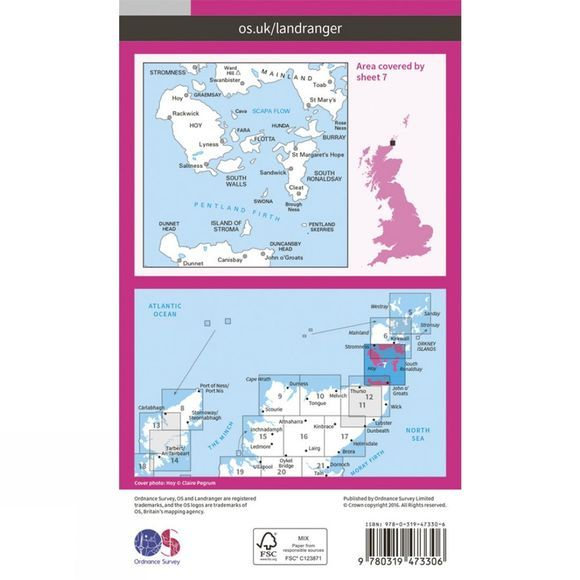 Active Landranger Map 07 Orkney - Southern Isles