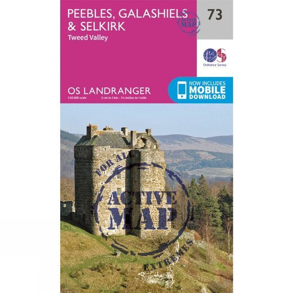 Ordnance Survey Active Landranger Map 73 Peebles, Galashiels and Selkirk V16