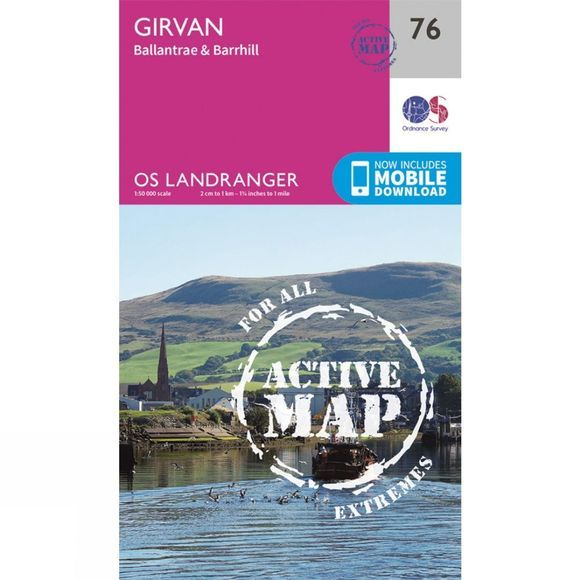 Ordnance Survey Active Landranger Map 76 Girvan V16