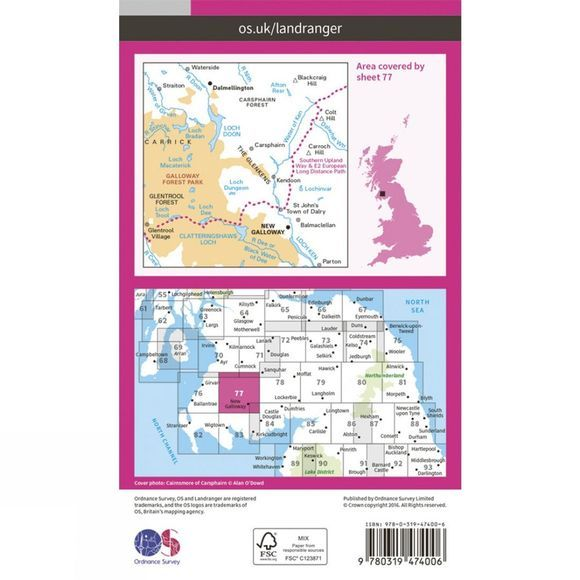 Active Landranger Map 77 Dalmellington and New Galloway