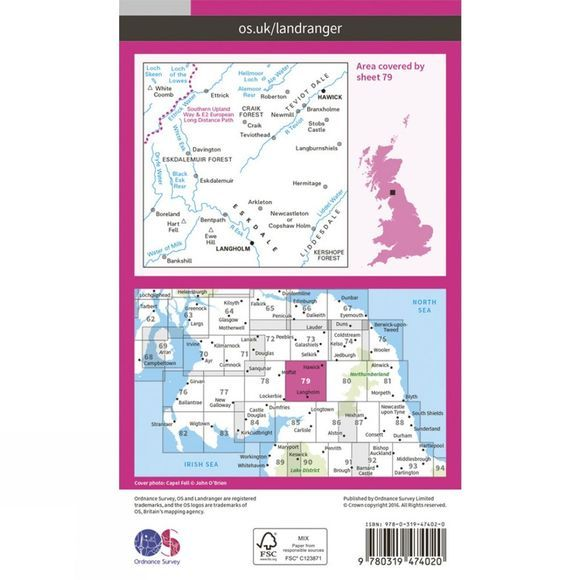 Ordnance Survey Active Landranger Map 79 Hawick and Eskdale V16