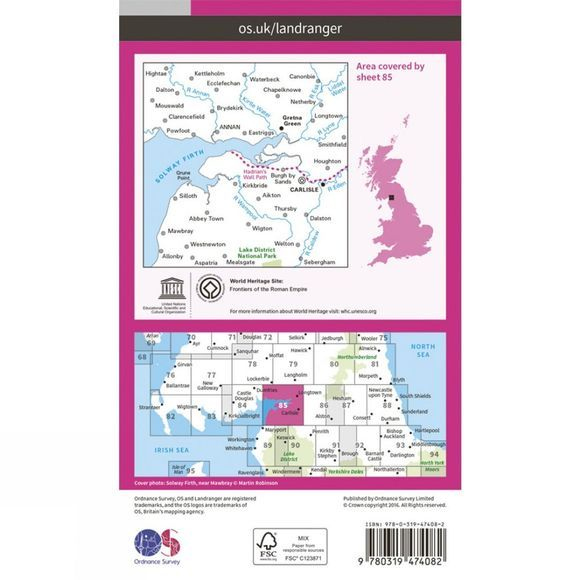 Ordnance Survey Active Landranger Map 85 Carlisle and Solway Firth V16