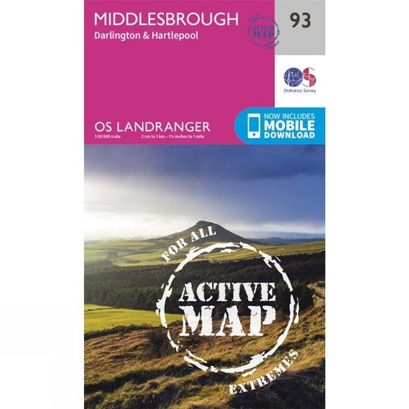 Ordnance Survey Active Landranger Map 93 Middlesbrough V16