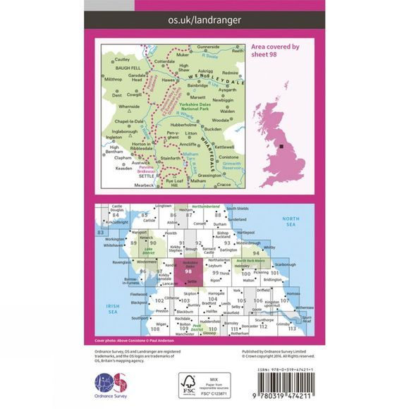 Ordnance Survey Active Landranger Map 98 Wensleydale and Upper Wharfedale V16