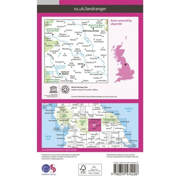 Ordnance Survey Active Landranger Map 99 Northallerton and Ripon V16