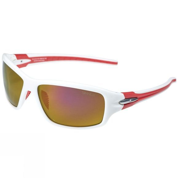 Sinner Ros Polarised Sunglasses Shiny White Reb/Brown Red Mirror
