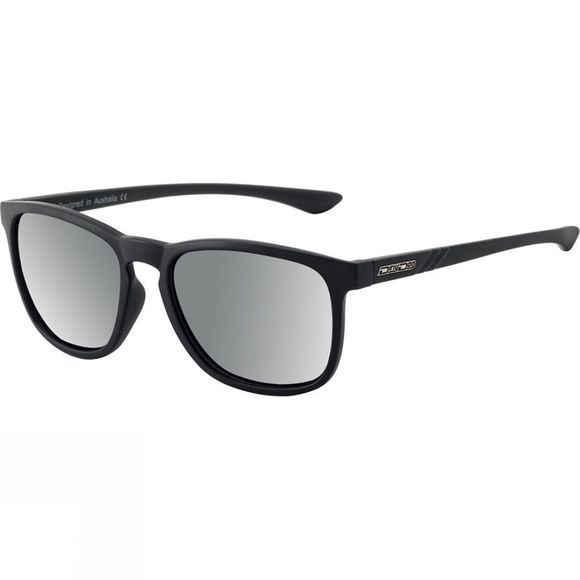 Dirty Dog Shadow Sunglasses Satin Black/Grey Silver Mirror Polarised