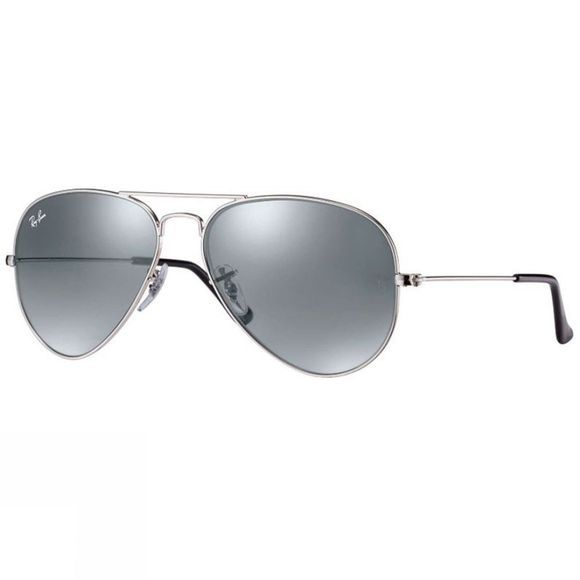 Ray Ban Aviator Sunglasses Silver/ Crystal Grey Mirror