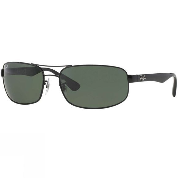 Ray Ban RB3445 Sunglasses Black/ Crystal Green Polarized
