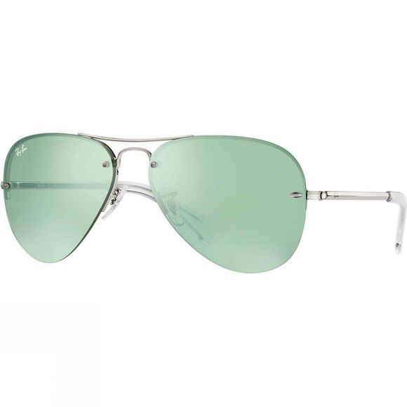 Ray Ban RB3449 Sunglasses Silver/ Green Flash/ Silver