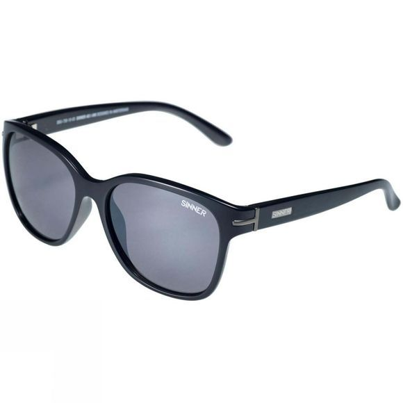 Sinner Paraiso Sunglasses Shiny Black/Polarised Smoke Flash Mirror