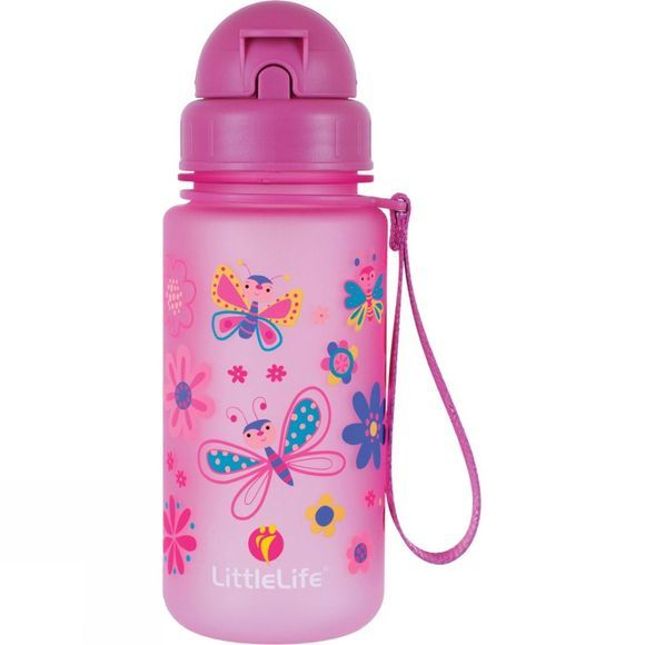 LittleLife Kids Butterfly Water Bottle 400ml Pink