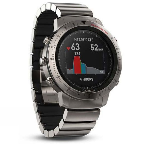 Garmin Fenix Chronos GPS Smartwatch Brushed Stainless Steel Watch Band