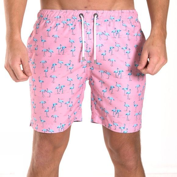 "Franks Mens Mid Length Volley Shorts 16"" Miami Pink"