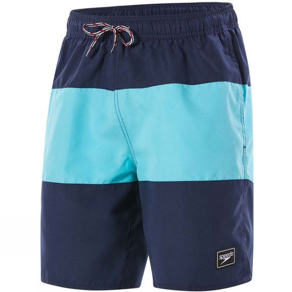 "Speedo Mens Panel Leisure 18"" Watershort Navy/Aquasplash"