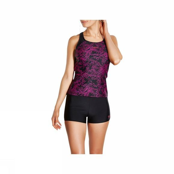 Speedo Womens Boom Allover Tankini Top Black/ Electric Pink