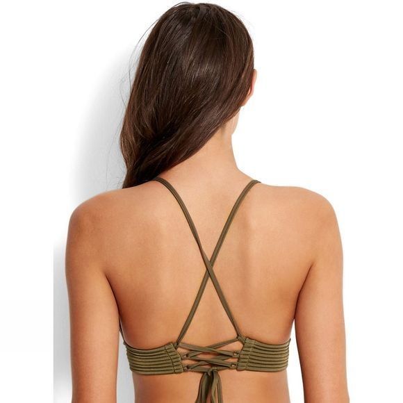 Womens Quilted Fixed Tri Bikini Top