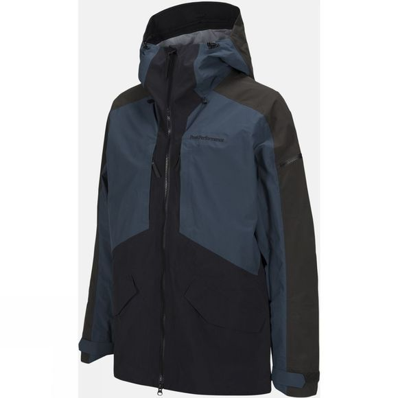 Peak Performance Mens Teton Ski Jacket BLUE STEEL/BLACK/OLIVE EXTREME